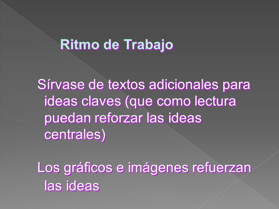 Ritmo de Trabajo Los gráficos e imágenes refuerzan las ideas Sírvase de textos adicionales para ideas claves (que como lectura puedan reforzar las ide