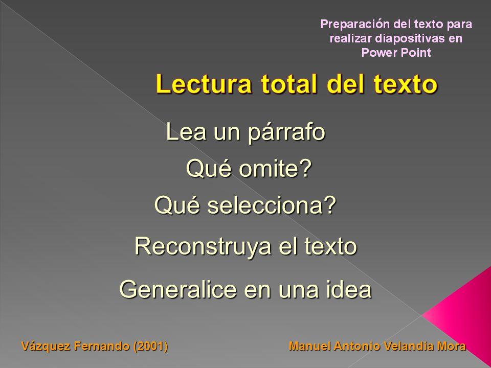 Lea un párrafo Qué selecciona? Qué omite? Qué omite? Reconstruya el texto Generalice en una idea Manuel Antonio Velandia Mora Vázquez Fernando (2001)