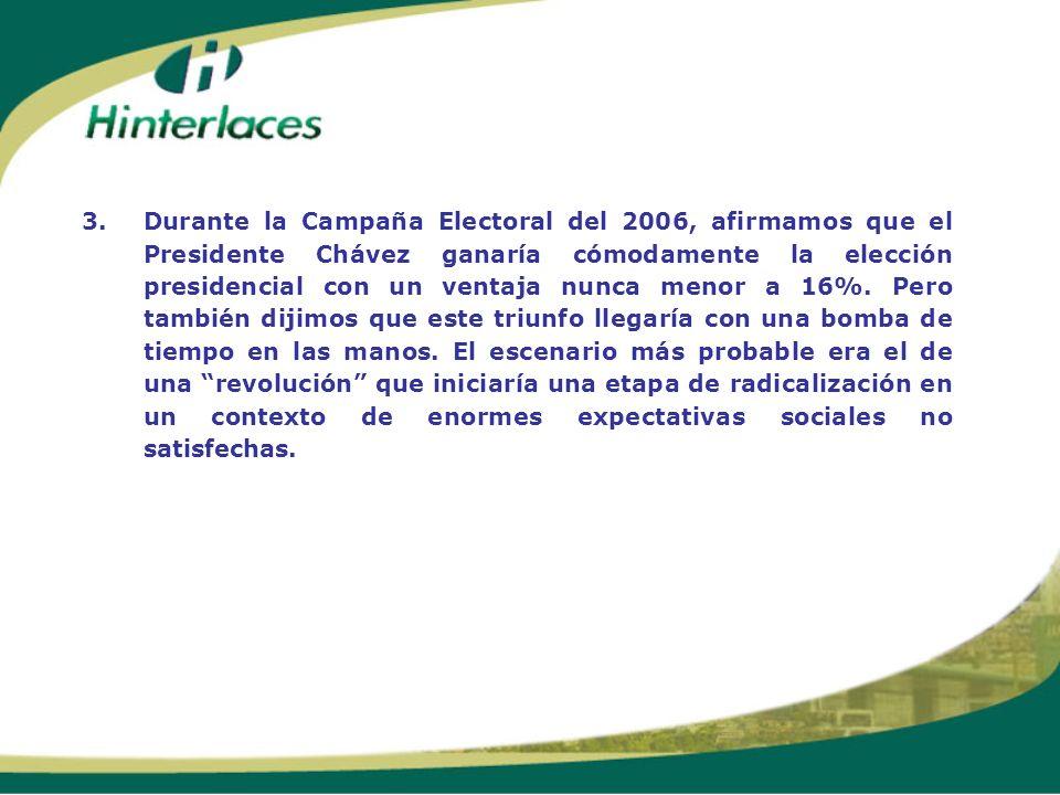 3.Durante la Campaña Electoral del 2006, afirmamos que el Presidente Chávez ganaría cómodamente la elección presidencial con un ventaja nunca menor a