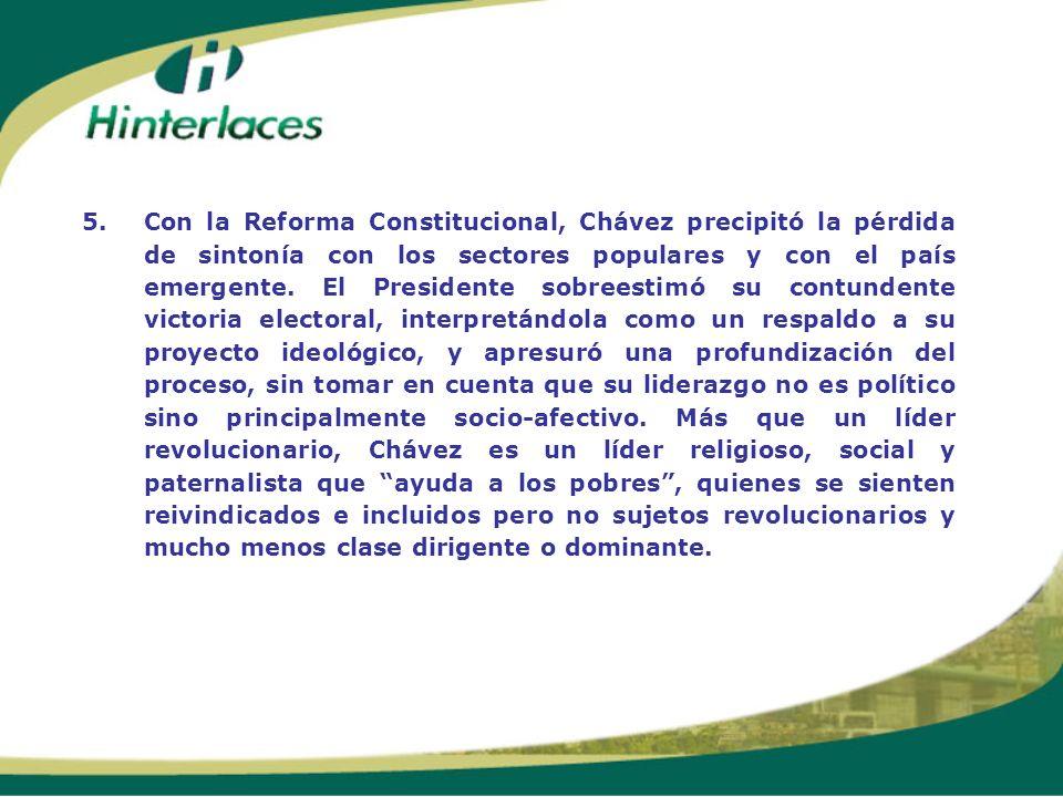 5.Con la Reforma Constitucional, Chávez precipitó la pérdida de sintonía con los sectores populares y con el país emergente. El Presidente sobreestimó