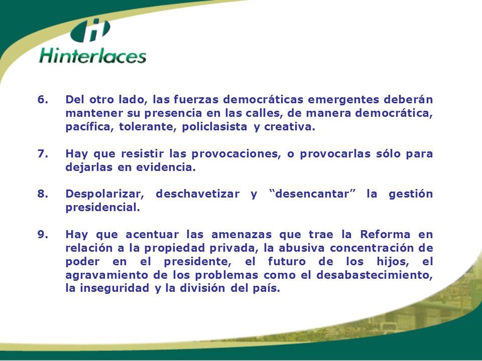 6.Del otro lado, las fuerzas democráticas emergentes deberán mantener su presencia en las calles, de manera democrática, pacífica, tolerante, policlas
