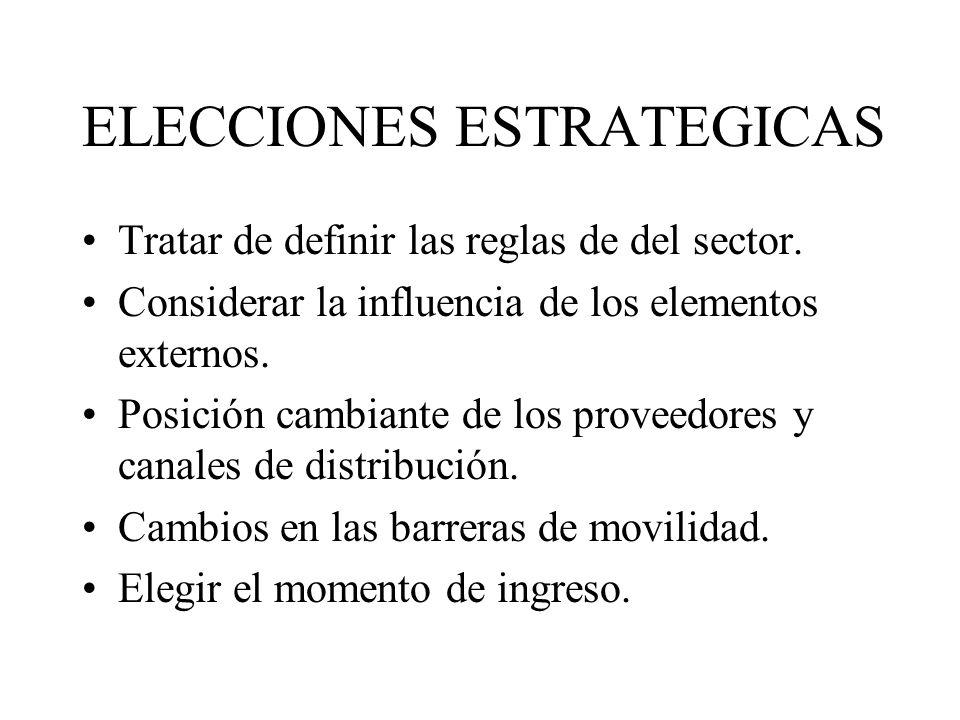 ELECCIONES ESTRATEGICAS Tratar de definir las reglas de del sector. Considerar la influencia de los elementos externos. Posición cambiante de los prov