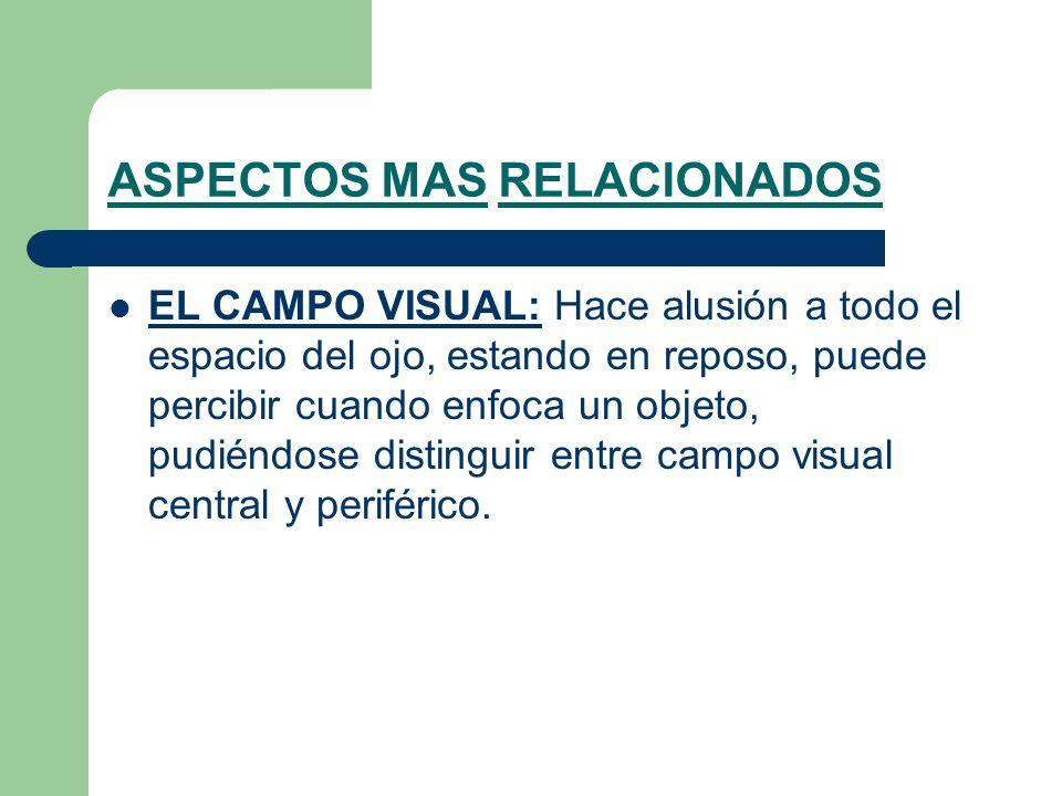 ASPECTOS MAS RELACIONADOS EL CAMPO VISUAL: Hace alusión a todo el espacio del ojo, estando en reposo, puede percibir cuando enfoca un objeto, pudiéndose distinguir entre campo visual central y periférico.