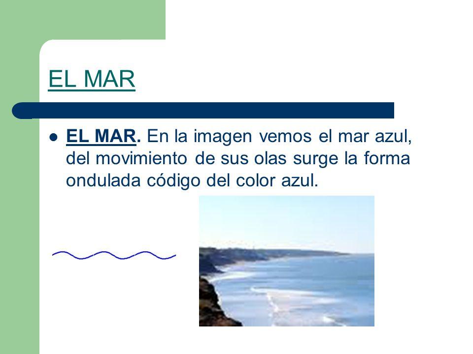EL MAR EL MAR. En la imagen vemos el mar azul, del movimiento de sus olas surge la forma ondulada código del color azul.