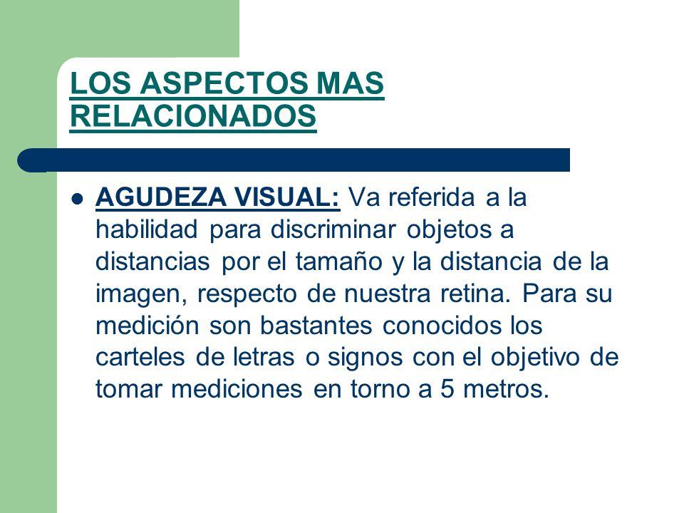 LOS ASPECTOS MAS RELACIONADOS AGUDEZA VISUAL: Va referida a la habilidad para discriminar objetos a distancias por el tamaño y la distancia de la imagen, respecto de nuestra retina.