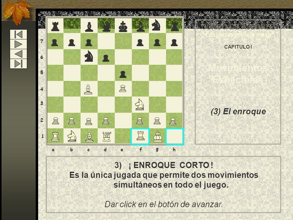 8 7 6 5 4 3 2 1 abcdef g h CURSO DE AJEDREZ Las piezas sobre la mesa CAPITULO I Movimientos Especiales (3) El enroque 3) A continuación se mueve la to