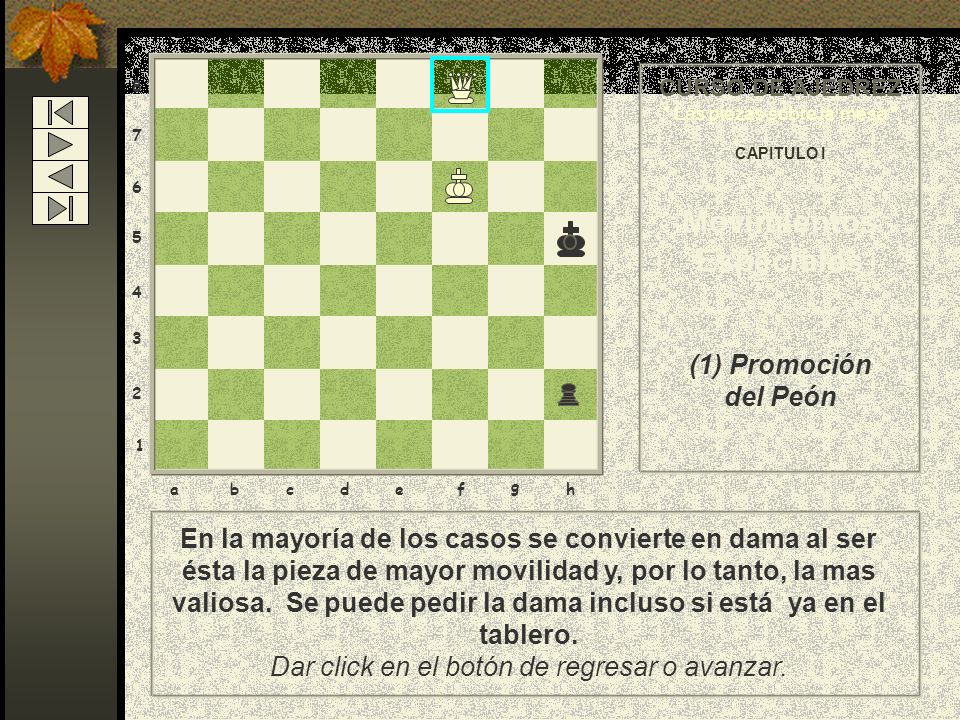 8 7 6 5 4 3 2 1 abcdef g h 1) El jugador debe sustituir el peón por la pieza que él elija: por una dama, torre, caballo o alfil. Da un click en el rec
