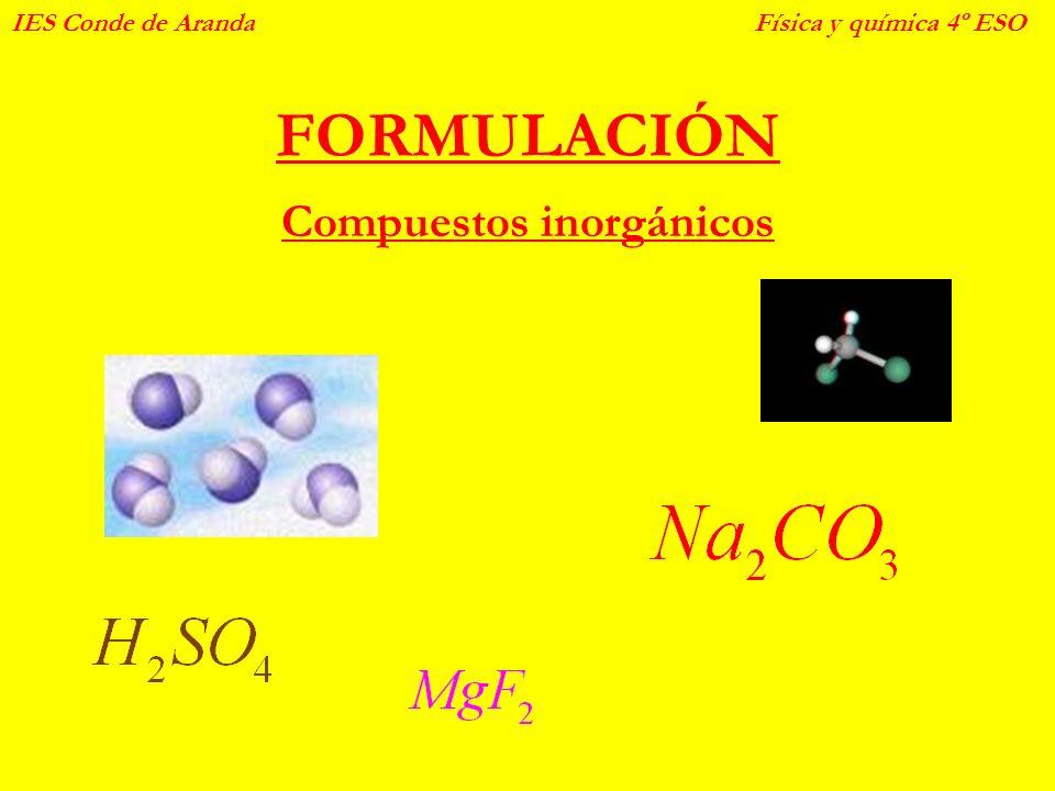 FORMULACIÓN Compuestos inorgánicos IES Conde de ArandaFísica y química 4º ESO
