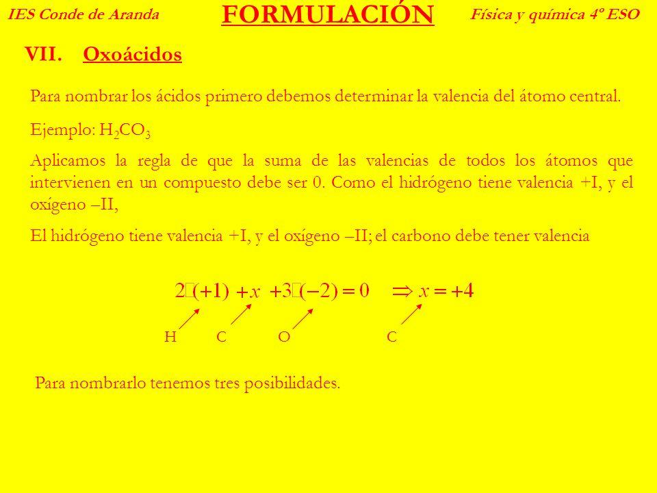 FORMULACIÓN VII.Oxoácidos IES Conde de ArandaFísica y química 4º ESO Para nombrar los ácidos primero debemos determinar la valencia del átomo central.