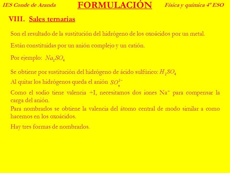 FORMULACIÓN VIII.Sales ternarias IES Conde de ArandaFísica y química 4º ESO Son el resultado de la sustitución del hidrógeno de los oxoácidos por un m