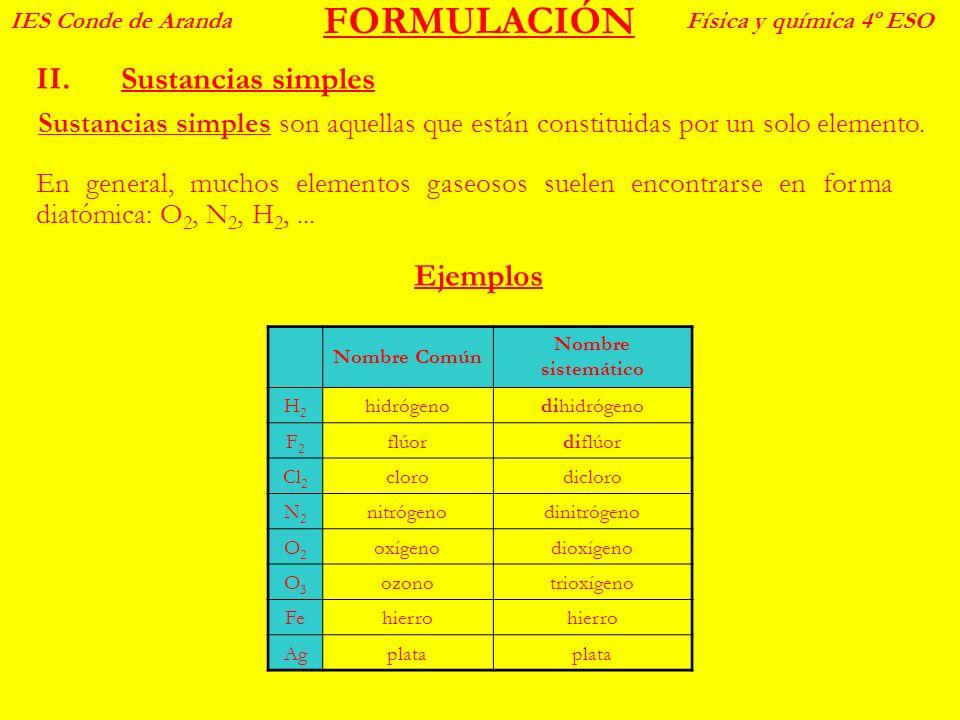 FORMULACIÓN II.Sustancias simples IES Conde de ArandaFísica y química 4º ESO Sustancias simples son aquellas que están constituidas por un solo elemen