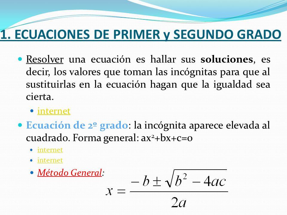 1. ECUACIONES DE PRIMER y SEGUNDO GRADO Resolver una ecuación es hallar sus soluciones, es decir, los valores que toman las incógnitas para que al sus