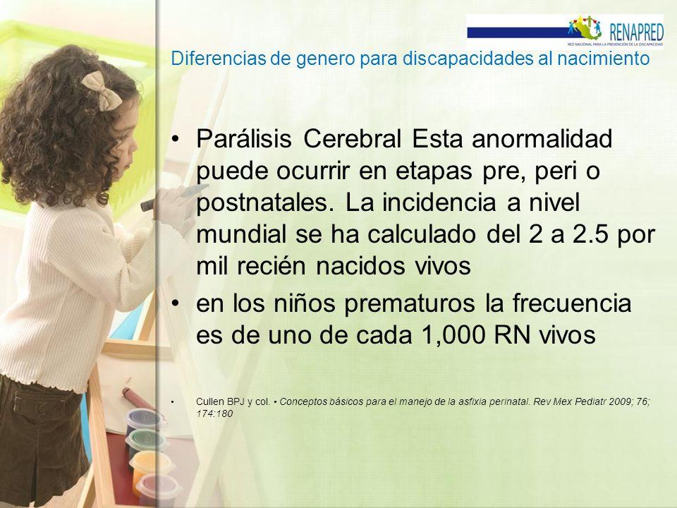 Diferencias de genero para discapacidades al nacimiento Parálisis Cerebral Esta anormalidad puede ocurrir en etapas pre, peri o postnatales. La incide