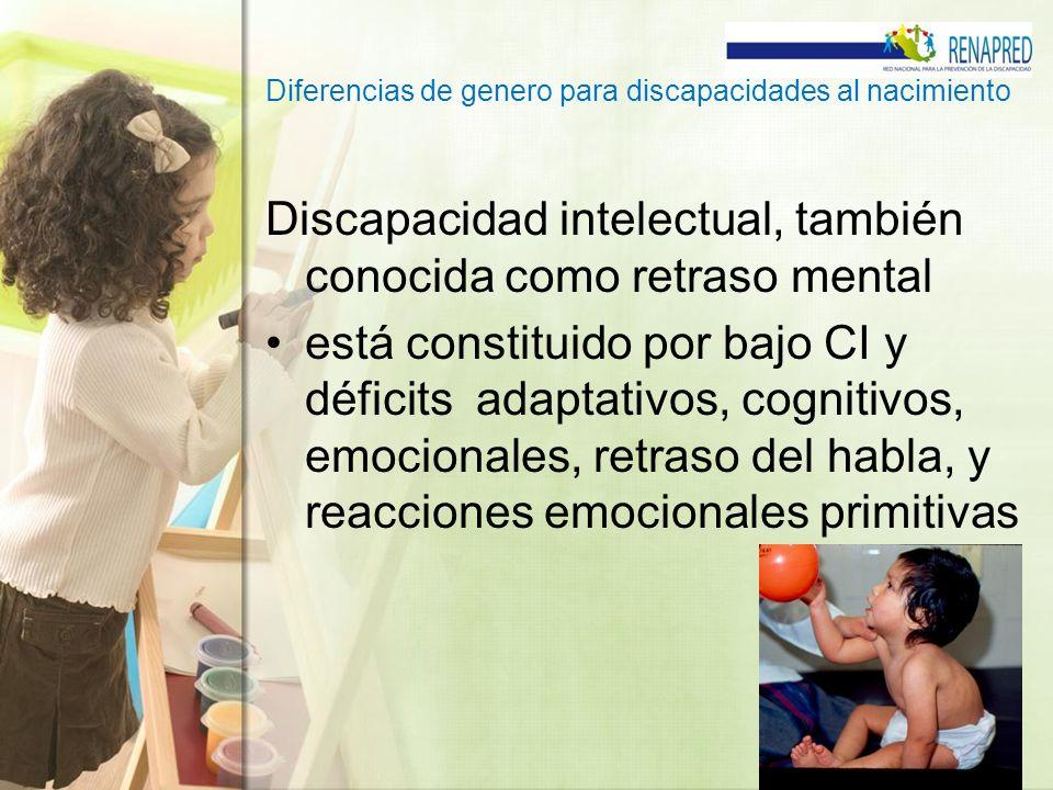 Diferencias de genero para discapacidades al nacimiento Discapacidad intelectual, también conocida como retraso mental está constituido por bajo CI y