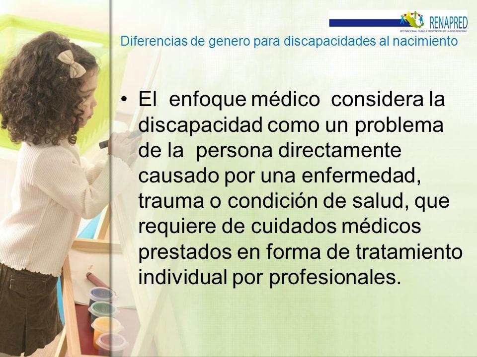 Diferencias de genero para discapacidades al nacimiento El enfoque médico considera la discapacidad como un problema de la persona directamente causad