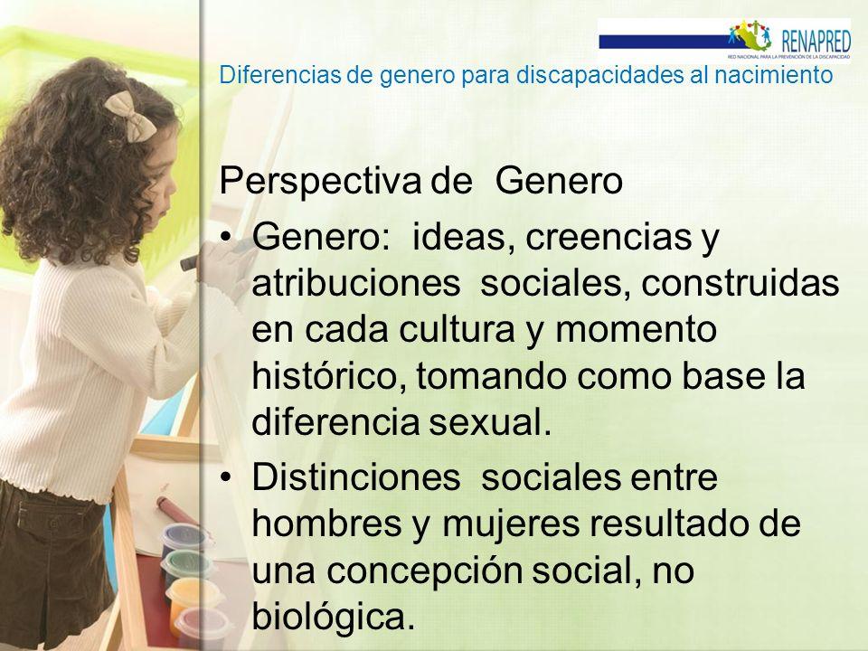 Diferencias de genero para discapacidades al nacimiento Perspectiva de Genero Genero: ideas, creencias y atribuciones sociales, construidas en cada cu