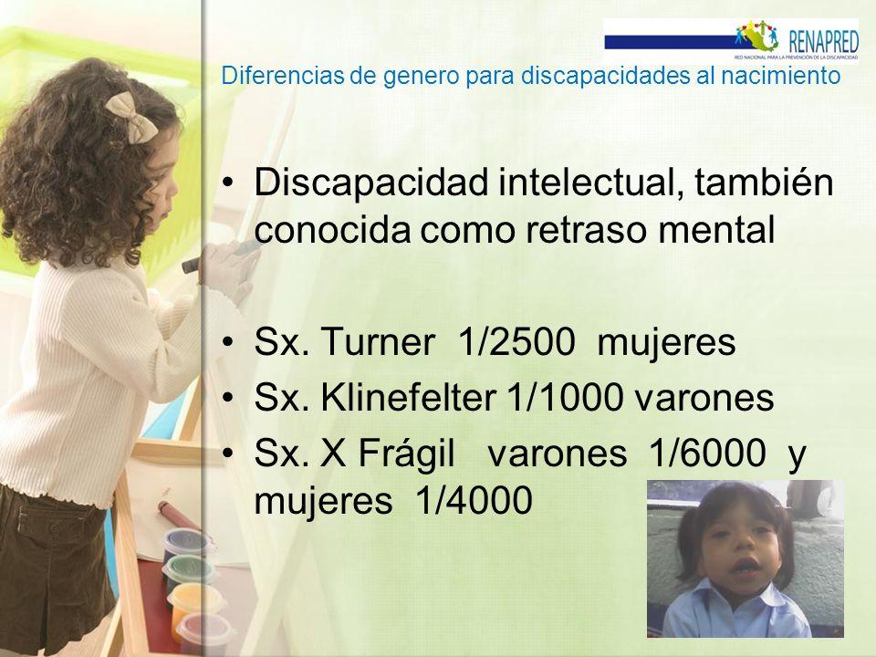 Diferencias de genero para discapacidades al nacimiento Discapacidad intelectual, también conocida como retraso mental Sx. Turner 1/2500 mujeres Sx. K