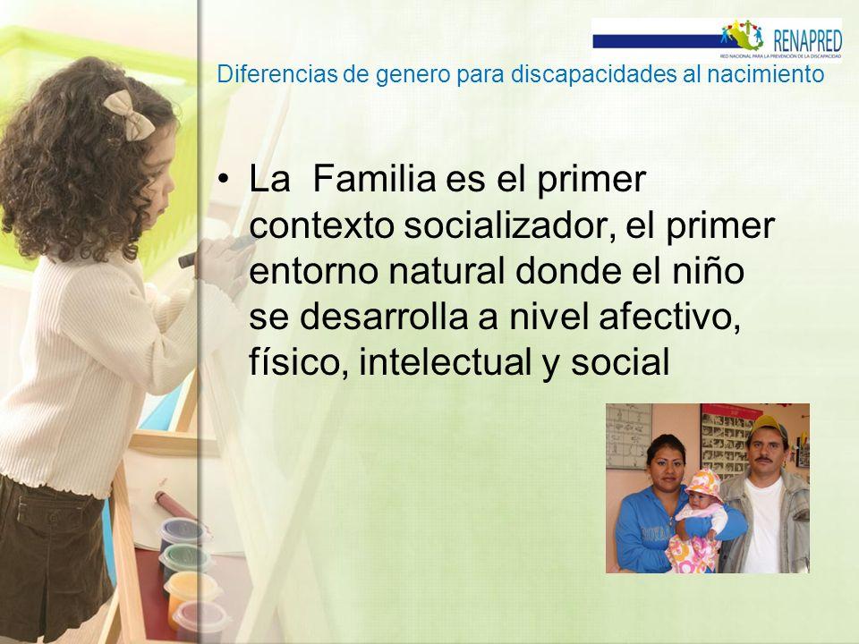 Diferencias de genero para discapacidades al nacimiento La Familia es el primer contexto socializador, el primer entorno natural donde el niño se desa