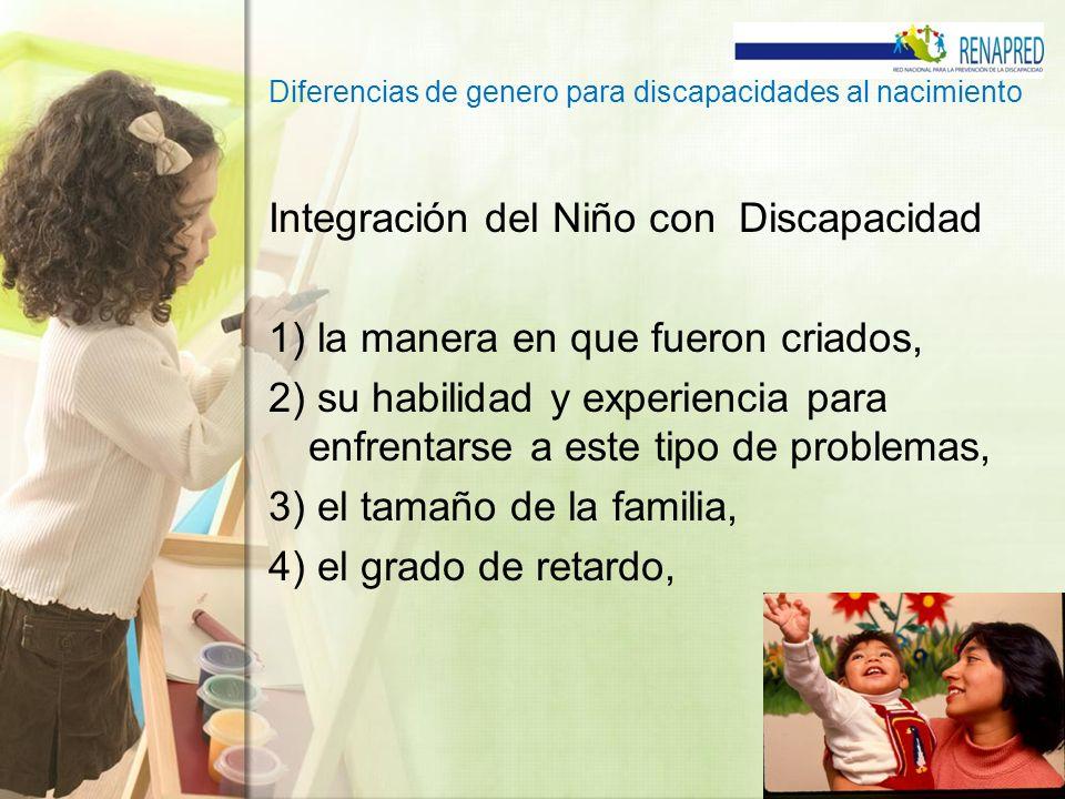 Diferencias de genero para discapacidades al nacimiento Integración del Niño con Discapacidad 1) la manera en que fueron criados, 2) su habilidad y ex