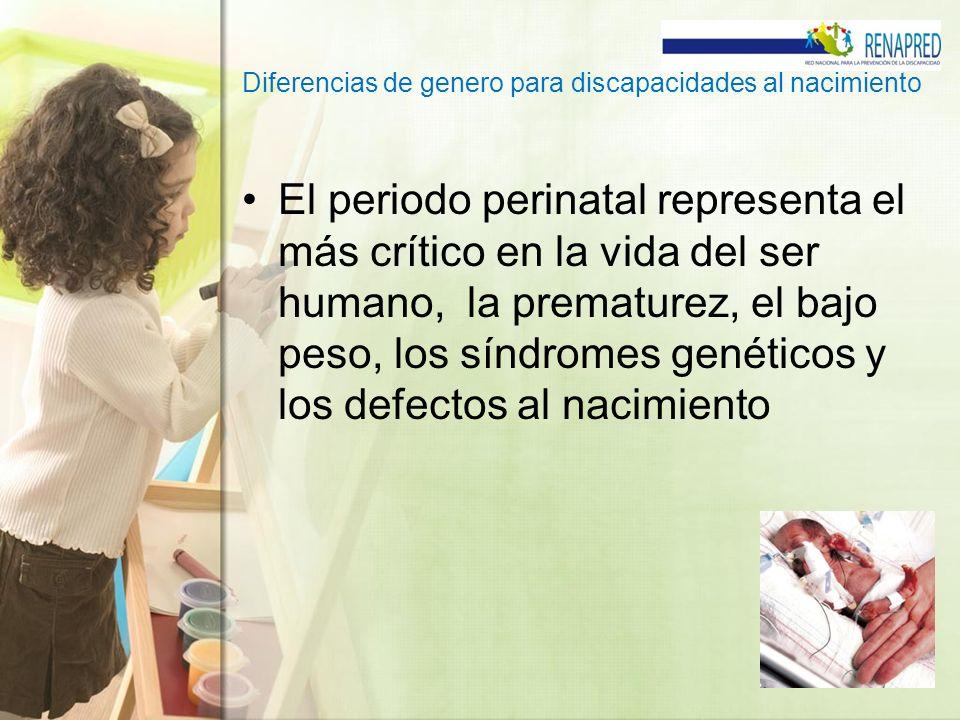 Diferencias de genero para discapacidades al nacimiento El riesgo de nacimiento prematuros para la población general se estima entre el 6 y 10%, y a menor edad gestacional mayor morbilidad y mortalidad infantil.