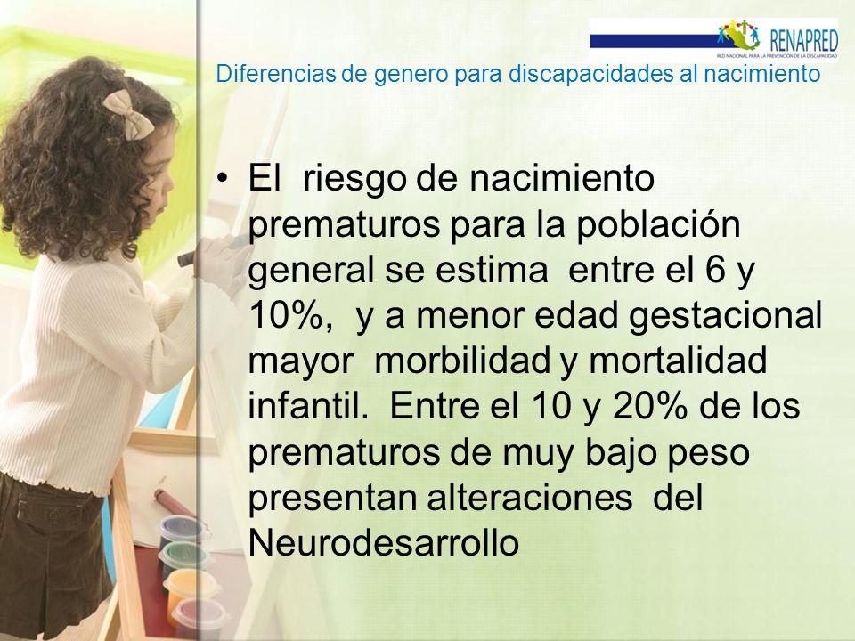 Diferencias de genero para discapacidades al nacimiento El riesgo de nacimiento prematuros para la población general se estima entre el 6 y 10%, y a m