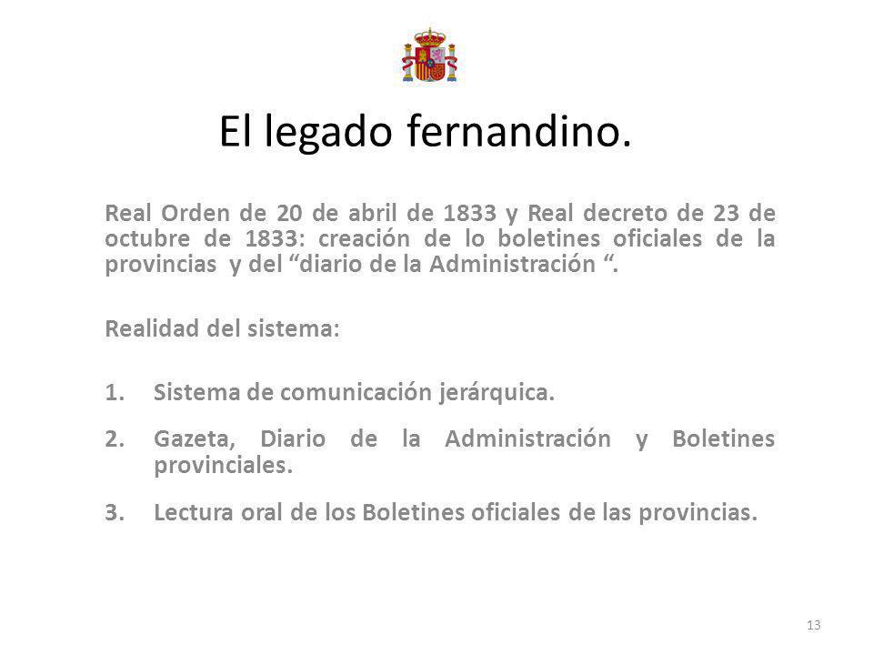 El legado fernandino. Real Orden de 20 de abril de 1833 y Real decreto de 23 de octubre de 1833: creación de lo boletines oficiales de la provincias y