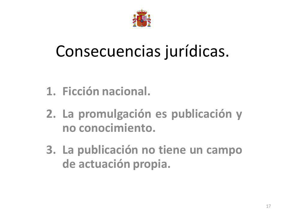 Consecuencias jurídicas. 1.Ficción nacional. 2.La promulgación es publicación y no conocimiento. 3.La publicación no tiene un campo de actuación propi