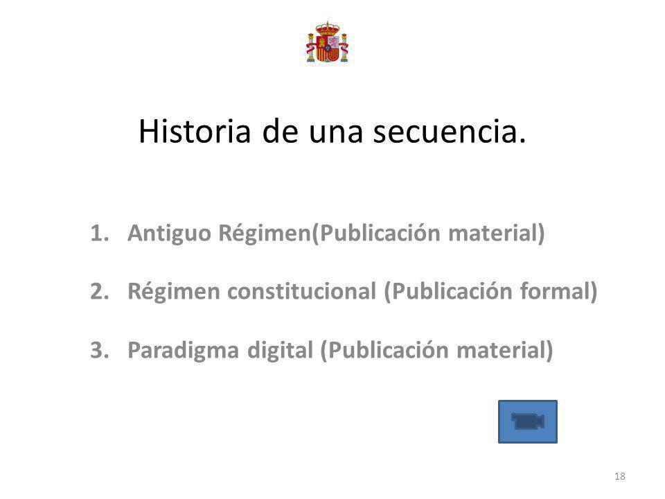 Historia de una secuencia. 1.Antiguo Régimen(Publicación material) 2.Régimen constitucional (Publicación formal) 3.Paradigma digital (Publicación mate
