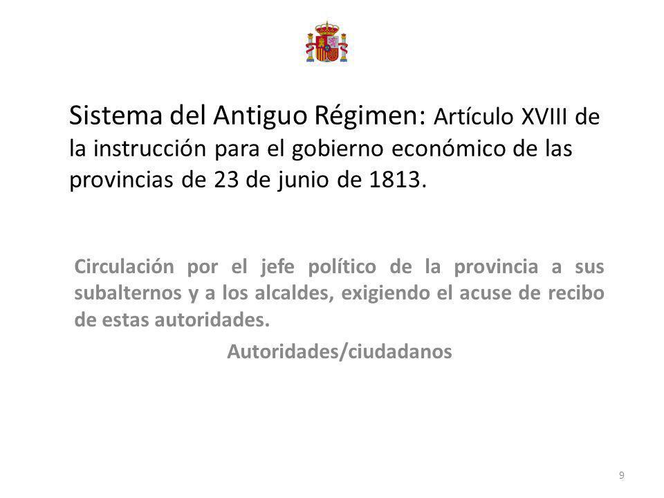 Sistema del Antiguo Régimen: Artículo XVIII de la instrucción para el gobierno económico de las provincias de 23 de junio de 1813. Circulación por el