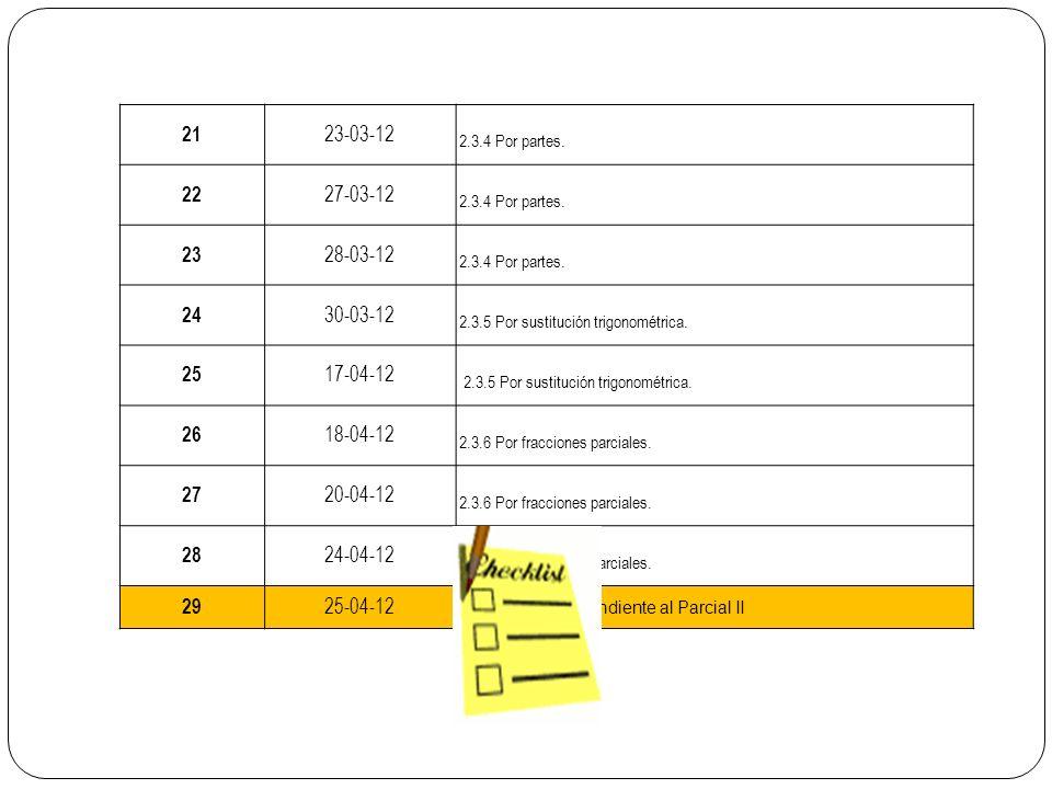 21 23-03-12 2.3.4 Por partes. 22 27-03-12 2.3.4 Por partes. 23 28-03-12 2.3.4 Por partes. 24 30-03-12 2.3.5 Por sustitución trigonométrica. 25 17-04-1