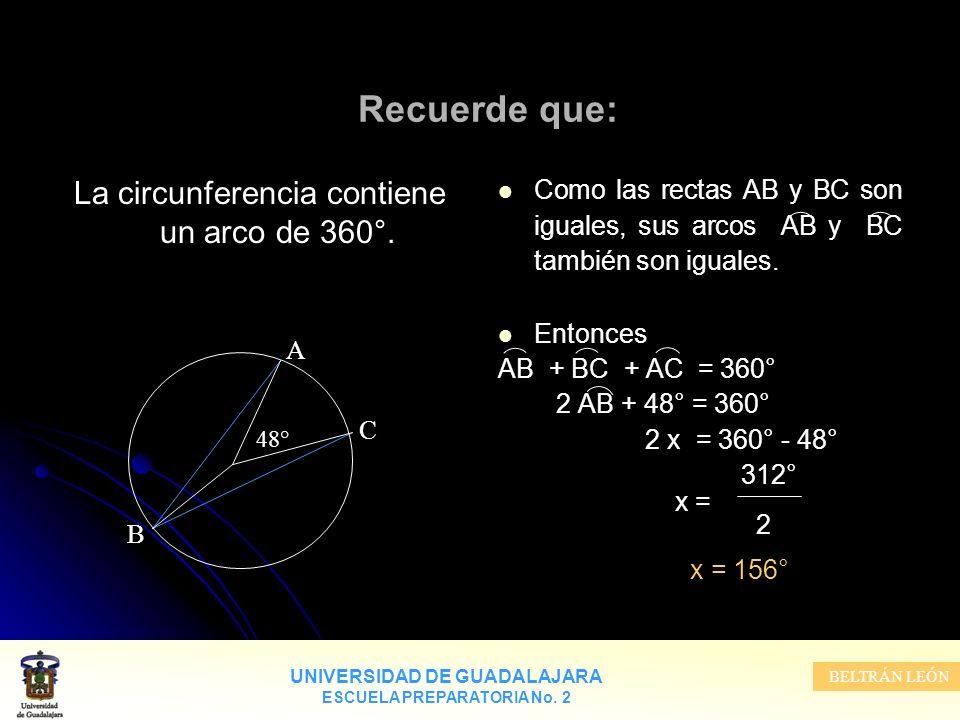 UNIVERSIDAD DE GUADALAJARA ESCUELA PREPARATORIA No. 2 BELTRÁN LEÓN Recuerde que: La circunferencia contiene un arco de 360°. Como las rectas AB y BC s