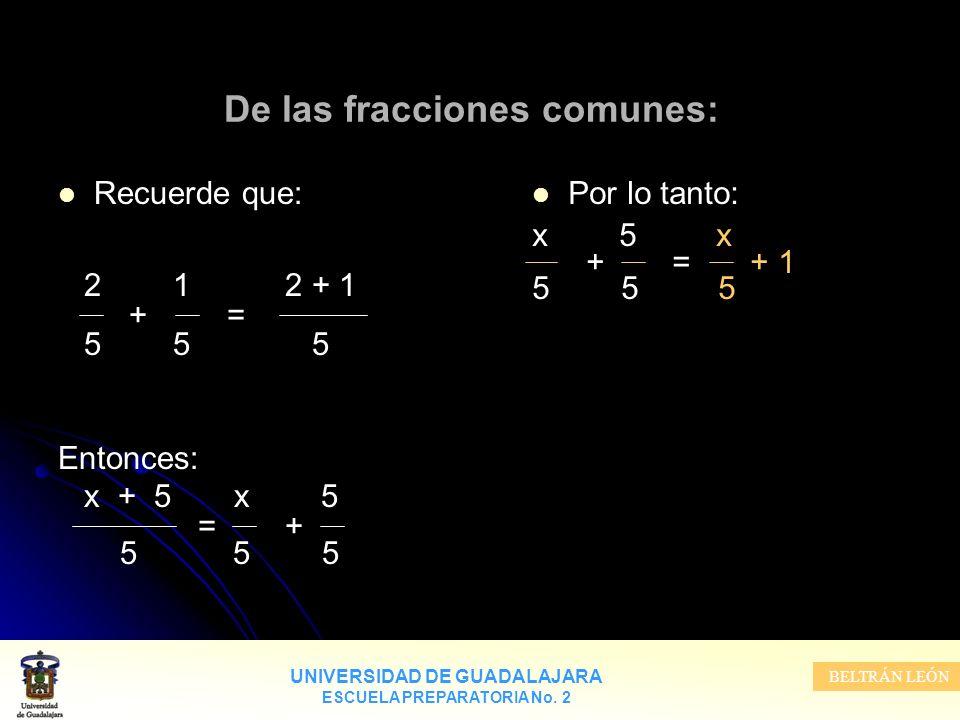 UNIVERSIDAD DE GUADALAJARA ESCUELA PREPARATORIA No. 2 BELTRÁN LEÓN De las fracciones comunes: Recuerde que: 2 1 2 + 1 + = 5 5 5 Entonces: x + 5 x 5 =