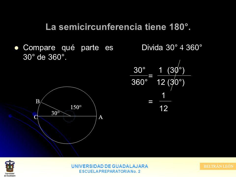 UNIVERSIDAD DE GUADALAJARA ESCUELA PREPARATORIA No. 2 BELTRÁN LEÓN Divida 30° 360° 30° 1 (30°) = 360° 12 (30°) 1 = 12 La semicircunferencia tiene 180°