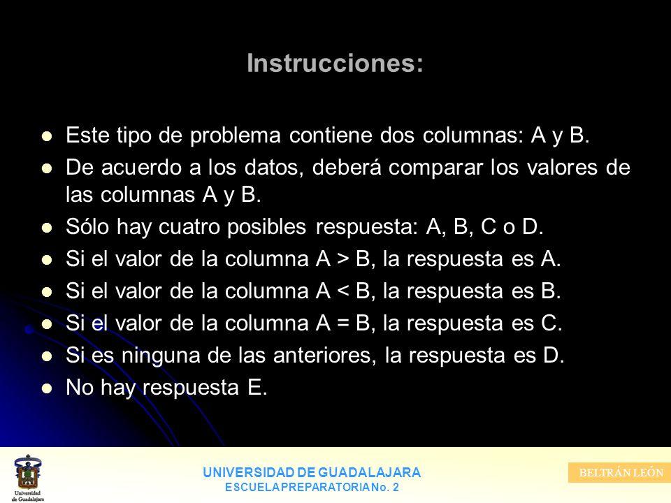 UNIVERSIDAD DE GUADALAJARA ESCUELA PREPARATORIA No. 2 BELTRÁN LEÓN Instrucciones: Este tipo de problema contiene dos columnas: A y B. De acuerdo a los