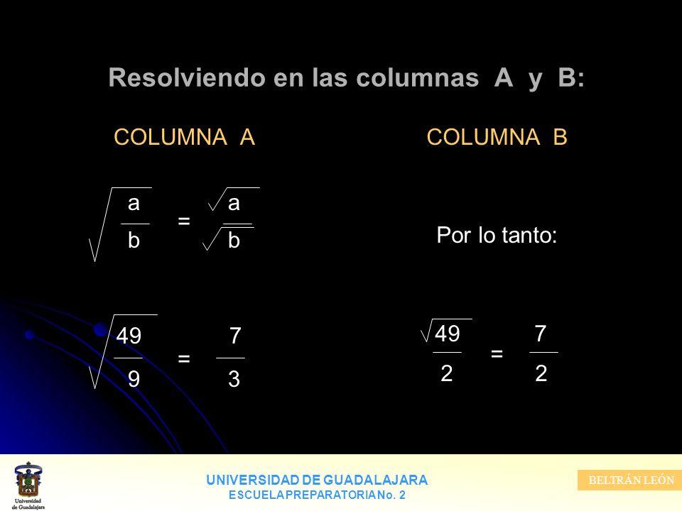 UNIVERSIDAD DE GUADALAJARA ESCUELA PREPARATORIA No. 2 BELTRÁN LEÓN Resolviendo en las columnas A y B: COLUMNA A a = b 49 7 = 9 3 COLUMNA B Por lo tant