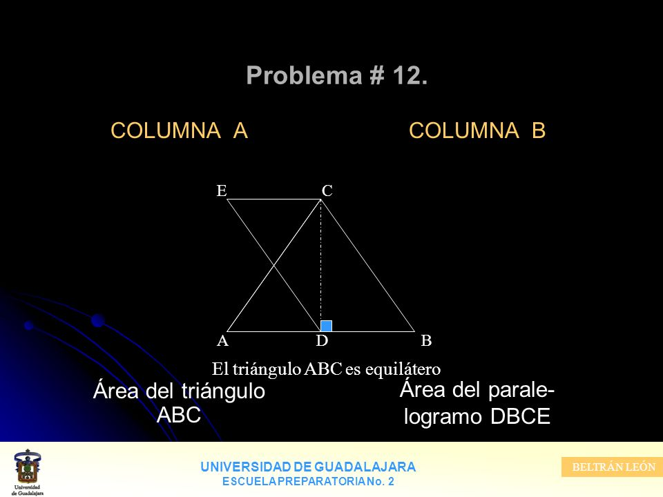 UNIVERSIDAD DE GUADALAJARA ESCUELA PREPARATORIA No. 2 BELTRÁN LEÓN Problema # 12. COLUMNA A Área del triángulo ABC COLUMNA B Área del parale- logramo