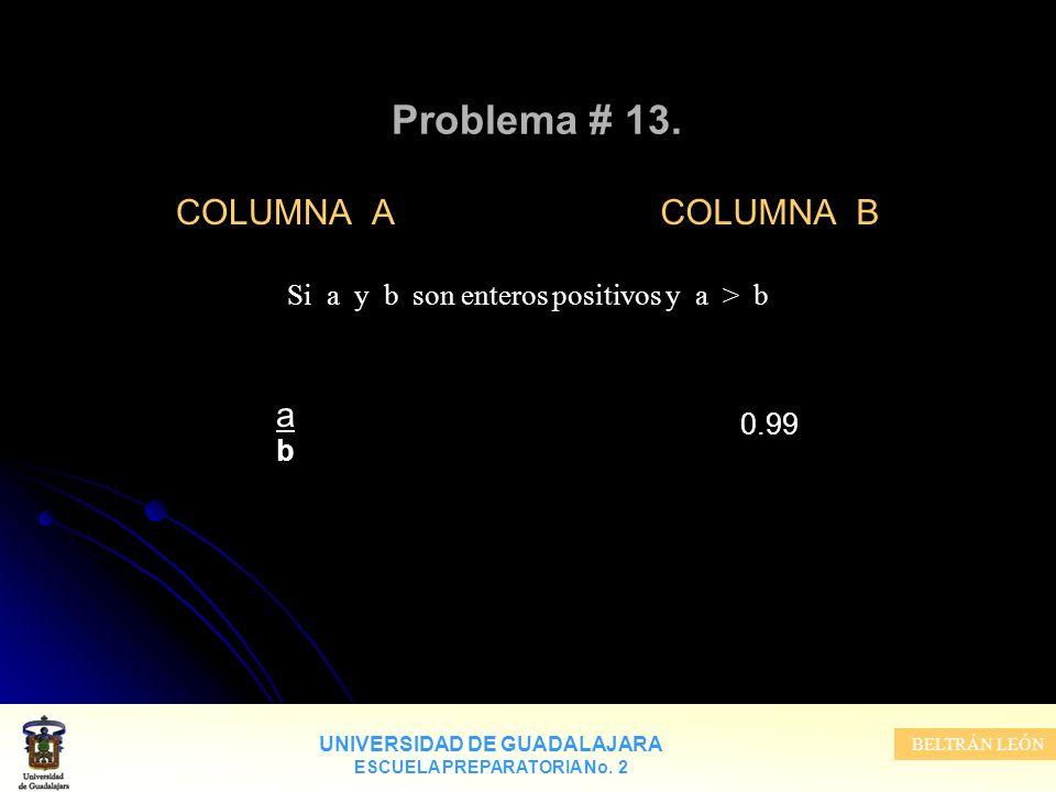 UNIVERSIDAD DE GUADALAJARA ESCUELA PREPARATORIA No. 2 BELTRÁN LEÓN Problema # 13. COLUMNA A a b COLUMNA B 0.99 Si a y b son enteros positivos y a > b