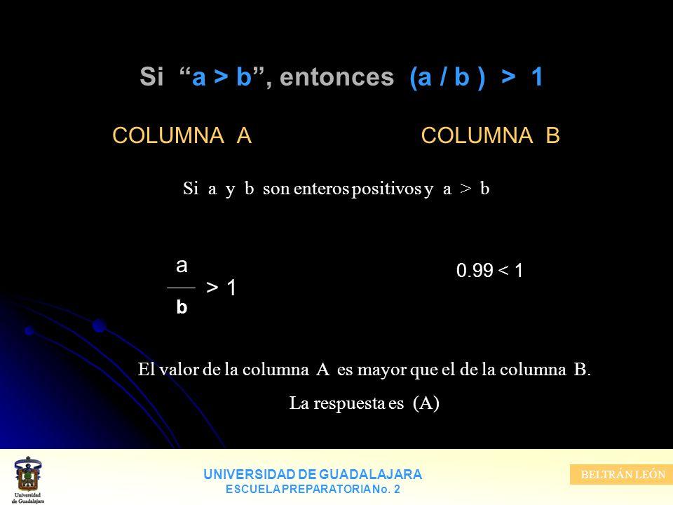 UNIVERSIDAD DE GUADALAJARA ESCUELA PREPARATORIA No. 2 BELTRÁN LEÓN Si a > b, entonces (a / b ) > 1 COLUMNA A a > 1 b COLUMNA B 0.99 < 1 Si a y b son e