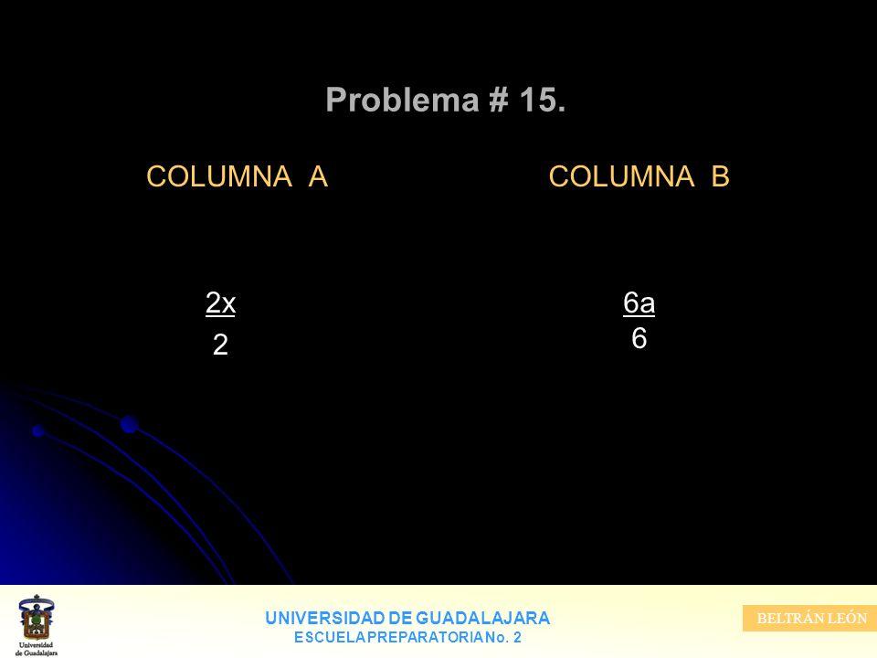 UNIVERSIDAD DE GUADALAJARA ESCUELA PREPARATORIA No. 2 BELTRÁN LEÓN Problema # 15. COLUMNA A 2x 2 COLUMNA B 6a 6