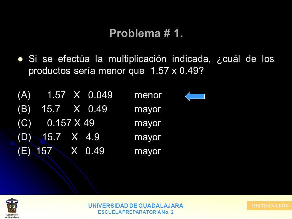 UNIVERSIDAD DE GUADALAJARA ESCUELA PREPARATORIA No. 2 BELTRÁN LEÓN Problema # 1. Si se efectúa la multiplicación indicada, ¿cuál de los productos serí