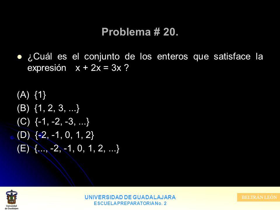 UNIVERSIDAD DE GUADALAJARA ESCUELA PREPARATORIA No. 2 BELTRÁN LEÓN Problema # 20. ¿Cuál es el conjunto de los enteros que satisface la expresión x + 2