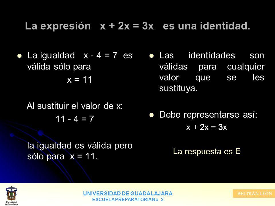 UNIVERSIDAD DE GUADALAJARA ESCUELA PREPARATORIA No. 2 BELTRÁN LEÓN La expresión x + 2x = 3x es una identidad. Las identidades son válidas para cualqui