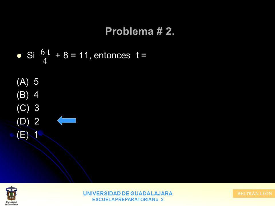 UNIVERSIDAD DE GUADALAJARA ESCUELA PREPARATORIA No. 2 BELTRÁN LEÓN Problema # 2. Si + 8 = 11, entonces t = (A) 5 (B) 4 (C) 3 (D) 2 (E) 1 6 t 4
