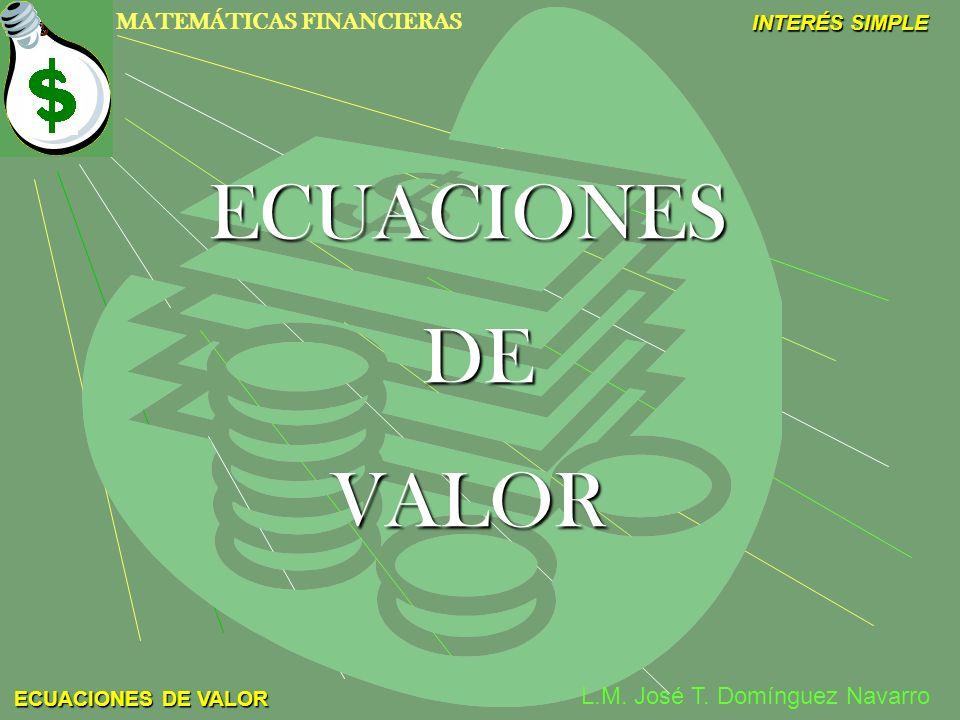 MATEMÁTICAS FINANCIERAS INTERÉS SIMPLE L.M. José T. Domínguez Navarro ECUACIONES DE VALOR ECUACIONES DE VALOR