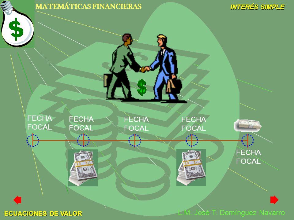 MATEMÁTICAS FINANCIERAS INTERÉS SIMPLE L.M. José T. Domínguez Navarro ECUACIONES DE VALOR FECHA FOCAL