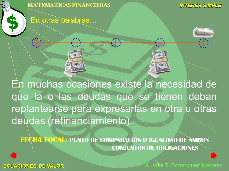 MATEMÁTICAS FINANCIERAS INTERÉS SIMPLE L.M. José T. Domínguez Navarro ECUACIONES DE VALOR En muchas ocasiones existe la necesidad de que la o las deud