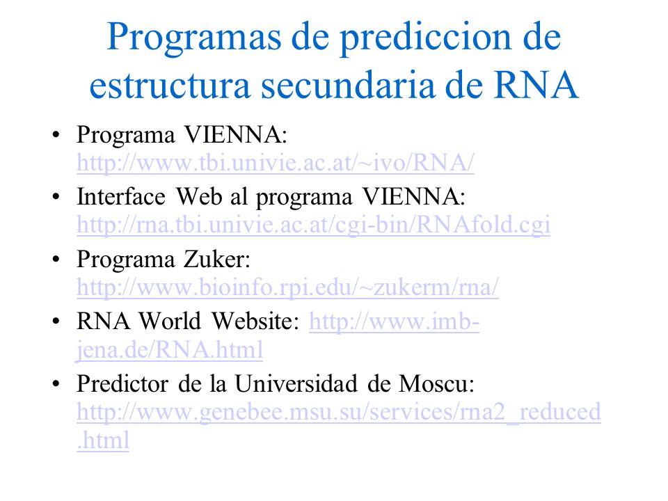 Programas de prediccion de estructura secundaria de RNA Programa VIENNA: http://www.tbi.univie.ac.at/~ivo/RNA/ http://www.tbi.univie.ac.at/~ivo/RNA/ Interface Web al programa VIENNA: http://rna.tbi.univie.ac.at/cgi-bin/RNAfold.cgi http://rna.tbi.univie.ac.at/cgi-bin/RNAfold.cgi Programa Zuker: http://www.bioinfo.rpi.edu/~zukerm/rna/ http://www.bioinfo.rpi.edu/~zukerm/rna/ RNA World Website: http://www.imb- jena.de/RNA.htmlhttp://www.imb- jena.de/RNA.html Predictor de la Universidad de Moscu: http://www.genebee.msu.su/services/rna2_reduced.html http://www.genebee.msu.su/services/rna2_reduced.html