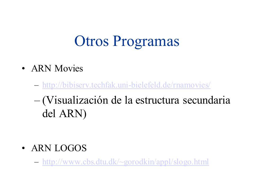 Otros Programas ARN Movies –http://bibiserv.techfak.uni-bielefeld.de/rnamovies/http://bibiserv.techfak.uni-bielefeld.de/rnamovies/ –(Visualización de la estructura secundaria del ARN) ARN LOGOS –http://www.cbs.dtu.dk/~gorodkin/appl/slogo.htmlhttp://www.cbs.dtu.dk/~gorodkin/appl/slogo.html