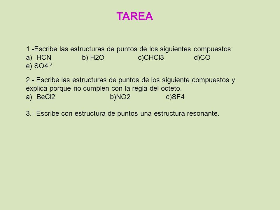 TAREA 1.-Escribe las estructuras de puntos de los siguientes compuestos: a)HCNb) H2Oc)CHCl3d)CO e) SO4 -2 2.- Escribe las estructuras de puntos de los siguiente compuestos y explica porque no cumplen con la regla del octeto.