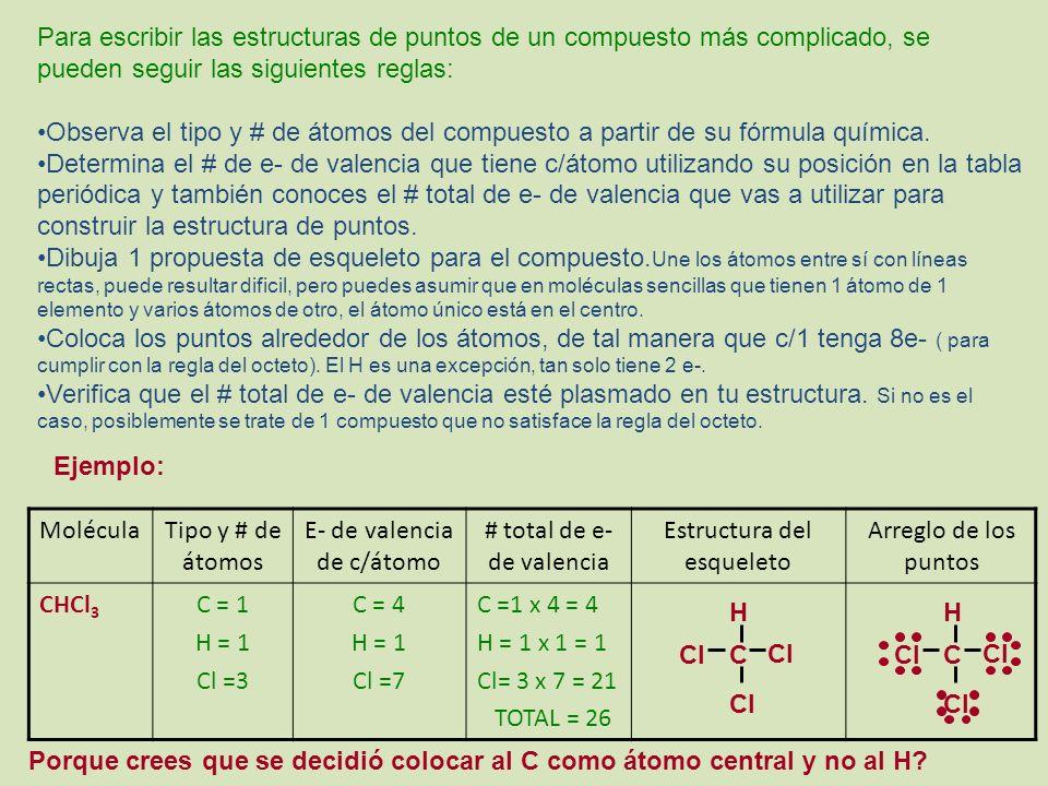 Para escribir las estructuras de puntos de un compuesto más complicado, se pueden seguir las siguientes reglas: Observa el tipo y # de átomos del compuesto a partir de su fórmula química.